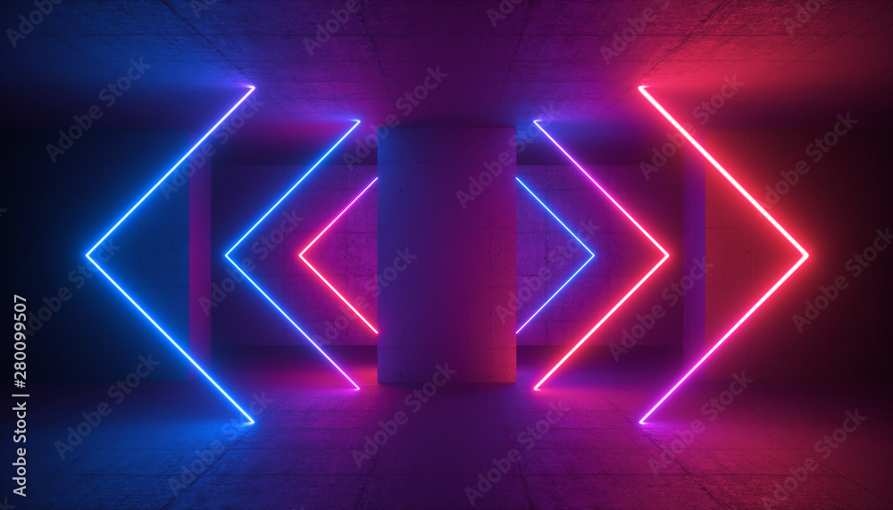 Fototapety, obrazy: 3d render, neon light glowing arrows, cyber space in virtual reality, concrete column in underground parking, tunnel, corridor, ultraviolet abstract background