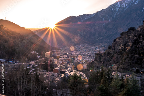 Sunset at Andorra la Vella Canvas Print