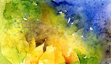 Watercolor Abstract Background With Sunflower