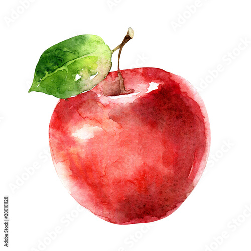 Fotografie, Obraz  Watercolor red apple isolated on white background