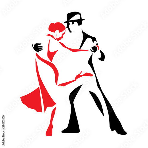 Tango dancing couple man and woman vector illustration, logo, icon for dansing s Canvas Print
