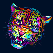 Growling Leopard. Abstract, Mu...