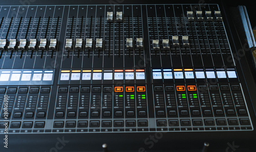 Obraz na plátně  Sound equipment, large mixing console for sound producer.