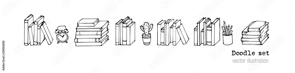 Fototapety, obrazy: Vector Set of books, Notebooks, Notepads and Diaries. Stack of books Sketch. Office stuff, student desk. Doodle stationery. Hand drawn illustration. Cartoon Design elemements for infographic. School