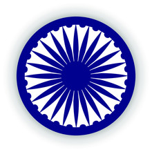 Blue Ashoka Wheel Indian Symbo...