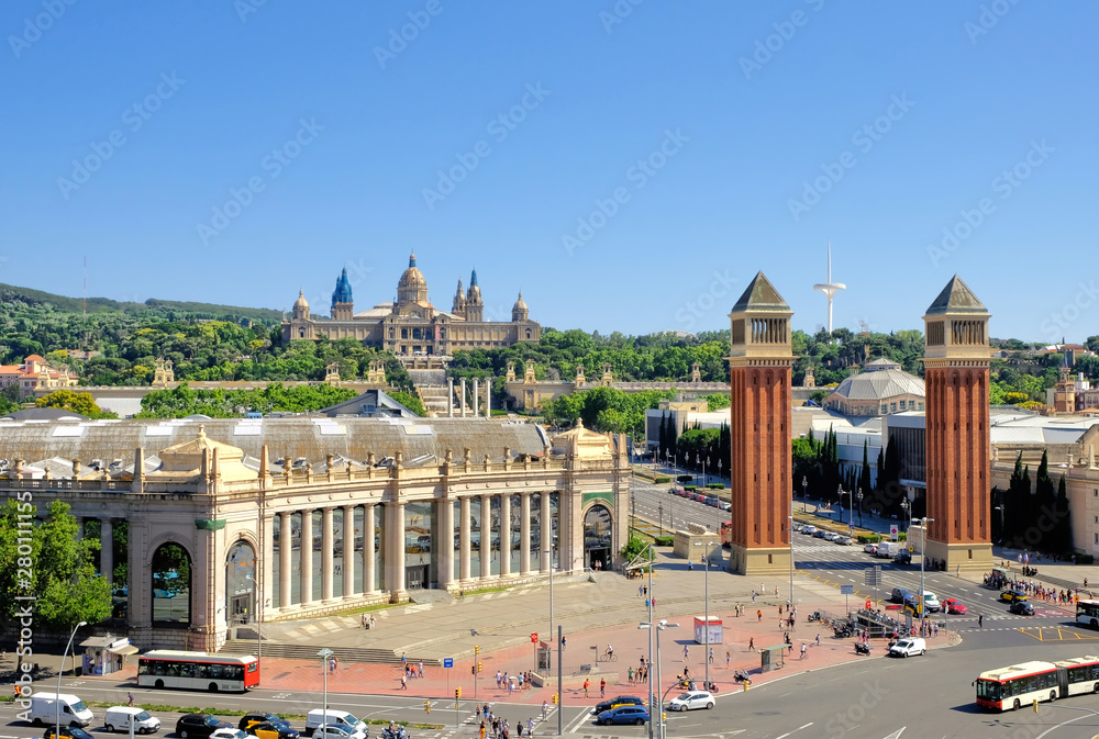 Fototapety, obrazy: Barcelona, Spain, Picturesque view on the tourist city - Square of Spain, iconic landmark by Montjuic, popular travel destination. Postcard from Barcelona, Europe.