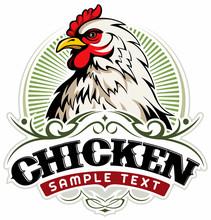 White Chicken Head, Chicken Farm Vector Logo Concept.