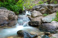 Stream Along Waterfall Canyon Trail Near Ogden, Utah During Summer Time