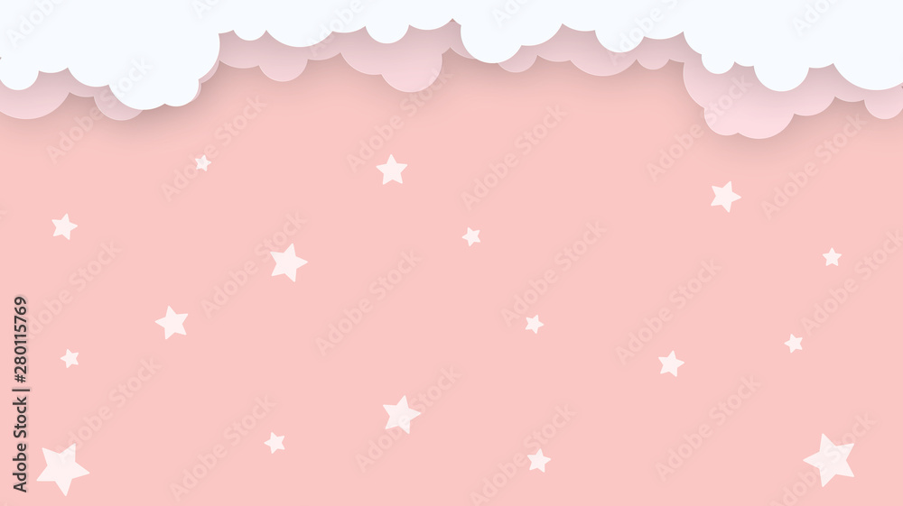 Fototapety, obrazy: Abstract kawaii Cloudy Colorful Sky background. Soft gradient pastel Comic graphic. Concept for wedding card design or presentation