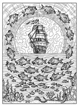 Fish And Ship. Black And White Mystic Concept For Lenormand Oracle Tarot Card.