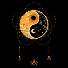 Yin Yang Flash Tattoo. Dreamcatcher Concept. Native Tribal Art.