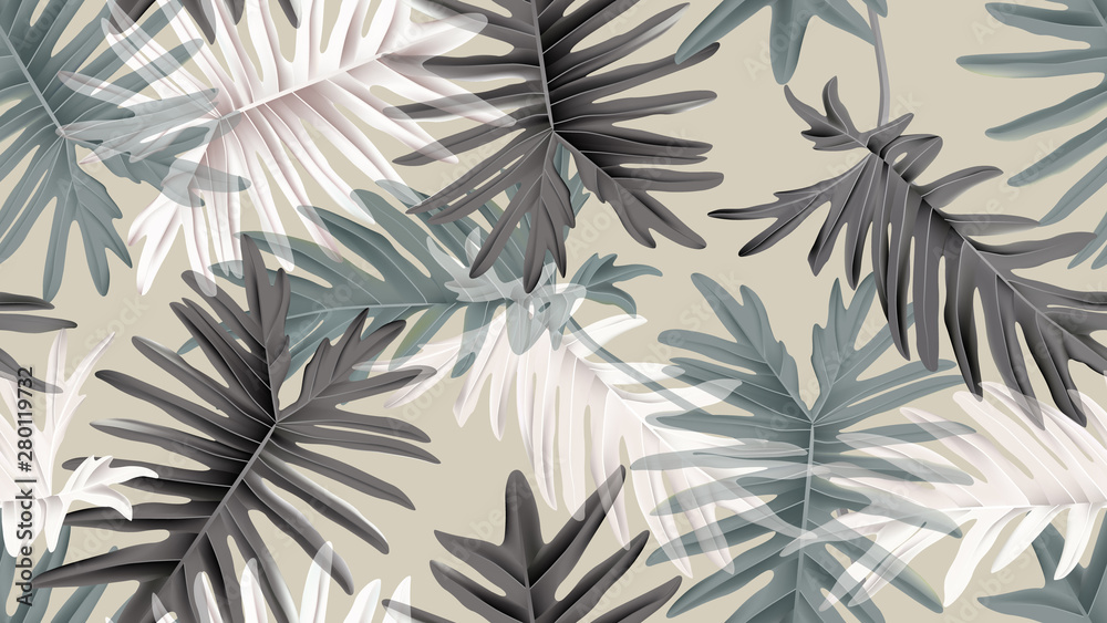 Fototapety, obrazy: Botanical seamless pattern, green, black and white Philodendron bipinnatifidum on light brown, pastel vintage theme