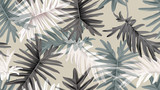 Botanical seamless pattern, green, black and white Philodendron bipinnatifidum on light brown, pastel vintage theme