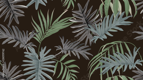 Botanical seamless pattern, bamboo palm and Philodendron bipinnatifidum on dark brown, pastel vintage theme