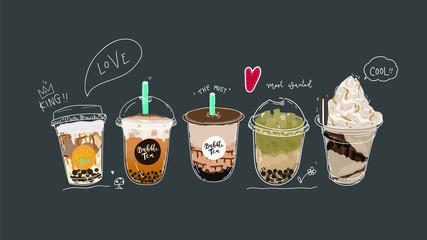 Bubble tea cup design colle...