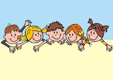 Five Smiling Children, Funny Vector Illustration, Template