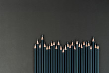 Black Pencils With Rods Of Different Thickness. Set Slate Pencils. Professional Black Slate Pencils. Mock Up, Copy Space.