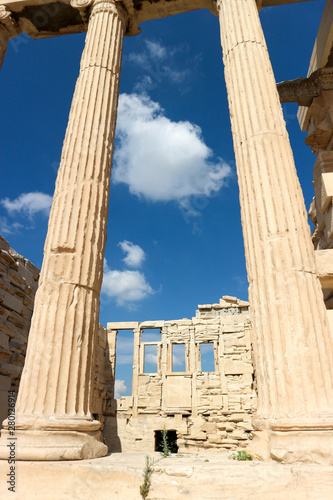 Fototapety, obrazy: view of the interior of the ancient greek temple Erechtheion, on the north side of the sacred rock of the Acropolis of Athens