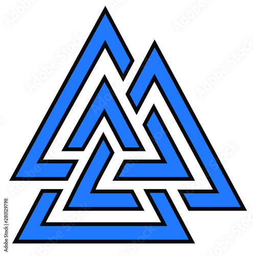 Photo Valknut symbol logo blue colored