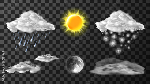 Weather meteo icons realistic set vector illustration Poster Mural XXL