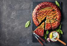 Spinach Ricotta Pie On A Slate Tray
