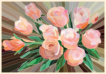 Panel Szklany Na szklane drzwi i okna Stained Glass Roses on a beige background. Light lines. Vector full color graphics