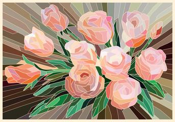 Naklejka Na szklane drzwi i okna Stained Glass Roses on a beige background. Light lines. Vector full color graphics