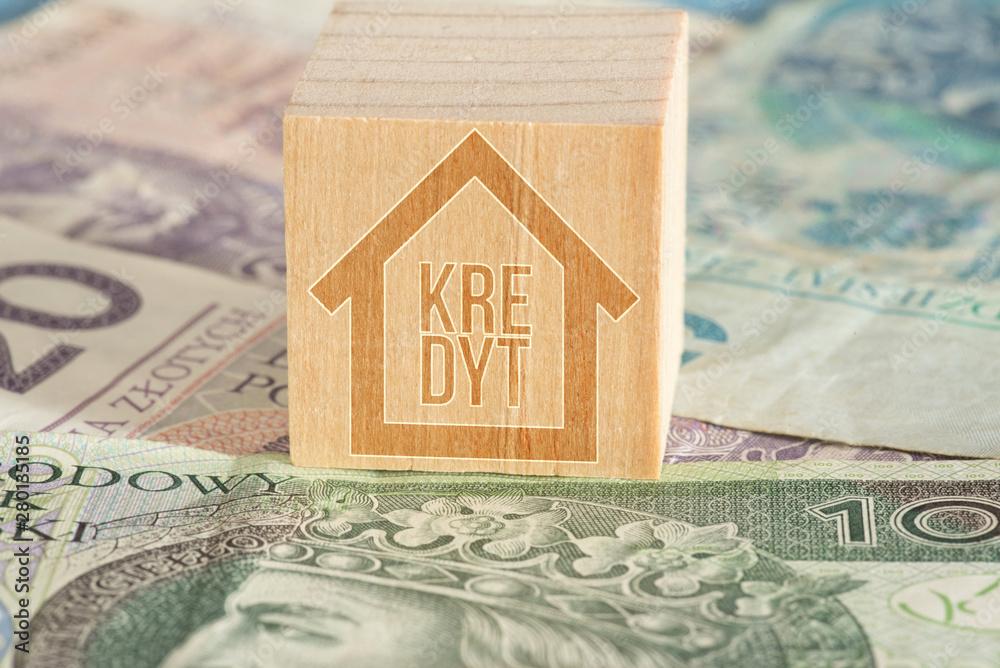 Fototapeta Polnische Zloty PLN und ein Kredit für ein Haus oder Wohnung