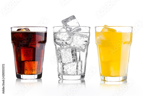 Obraz na plátně  Glasses of cola and orange soda drink and lemonade