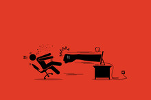 Stick Figure Man Being Punched By An Angry Hater Fist Flying Out From The Computer Monitor Screen. Vector Artwork Concept Depicts Social Media, Anger, Cyberbully, Hate, Internet, And Harm.