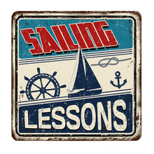 Sailing Lessons Vintage Rusty Metal Sign