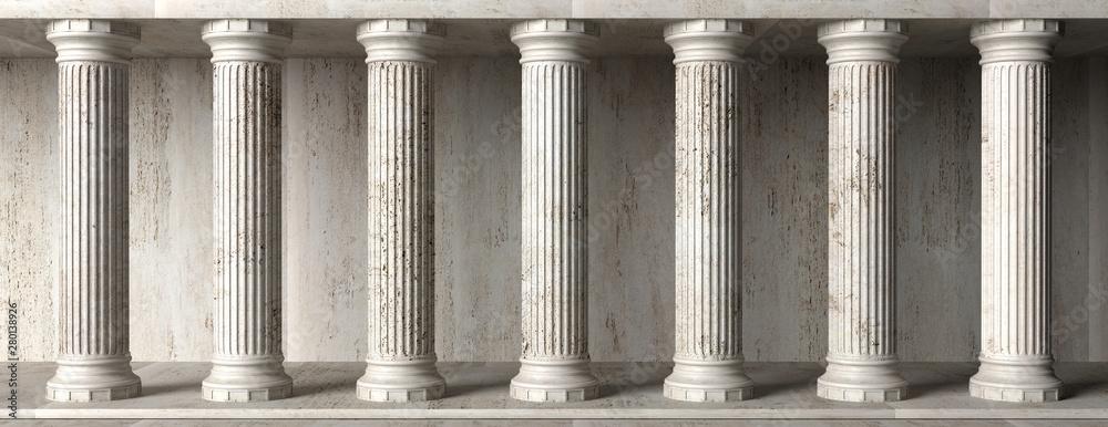 Fototapeta Classical building facade, stone marble columns. 3d illustration - obraz na płótnie