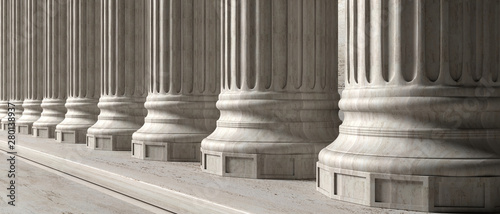 Classical building facade, stone marble columns. 3d illustration Canvas Print