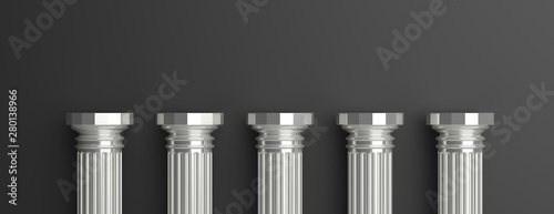 Fotomural Five silver pillars against black wall background