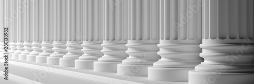 Fotomural  Classical pillars white color marble. 3d illustration