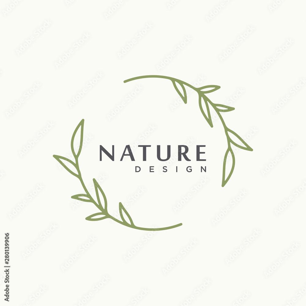 Fototapeta nature tree branch leaf vector icon illustration logo design