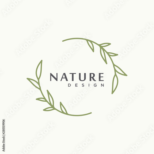 Fototapeta nature tree branch leaf vector icon illustration logo design obraz