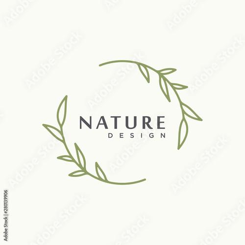 Obraz nature tree branch leaf vector icon illustration logo design - fototapety do salonu