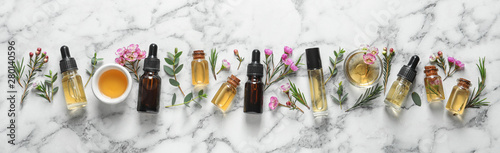 Photo  Flat lay composition with bottles of natural tea tree oil and space for text on