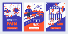 Vector Illustrations Of State Fair. Set Of Banners With Buy Tickets Button. Food Market, Car, Ferris Wheel, Farm Animals, Farmer, Country Fair. Design Template For Invitation, Advertisement, Web Site.