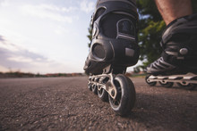 Man With Inline Skates Skating On The Street