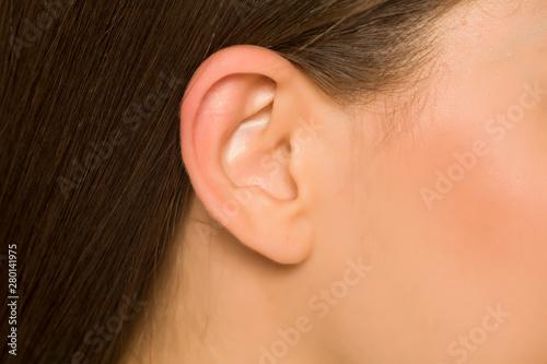 Fotografie, Obraz Closeup of ear of young woman