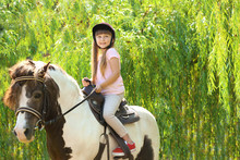 Cute Little Girl Riding Pony I...