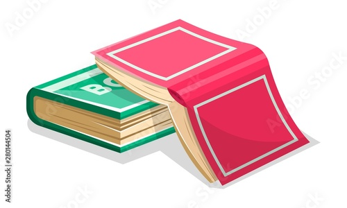 Fotografía Opened inverted pink book is on closed green another