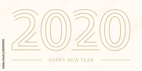 Fototapeta 2020 Happy New Year. 2020 modern text vector luxury design gold color. obraz