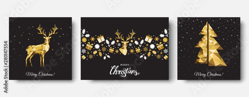 Christmas  golden  decoration  with  Xmas  reindeer, gifts,  snowflakes.