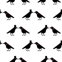 Two Funny Crows, A Gentleman Seduces A Lady, Cartoon Valentine Pattern. Cute Raven Illustration
