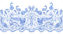 Seamless Border Pattern Of Blu...