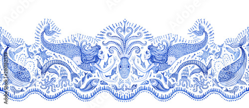 Fotografering  Seamless border pattern of blue hand painted fairy tale sea animals and mermaid