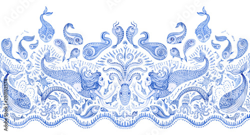 Fotografia, Obraz  Seamless border pattern of blue hand painted fairy tale sea animals and mermaid